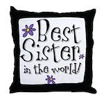 Best Sister Flower Throw Pillow