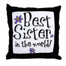 Best Sister Flower Throw Pillow