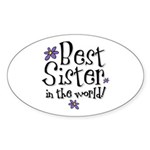 Best Sister Flower Oval Sticker