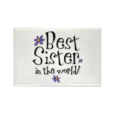 Best Sister Flower Rectangle Magnet