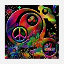 Lucky Peace Sign Collage Tile Coaster
