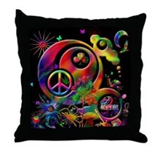 Lucky Peace Sign Collage Throw Pillow
