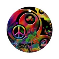 Lucky Peace Sign Collage Ornament (Round)