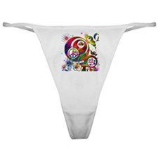 Lucky Peace Sign Collage Classic Thong