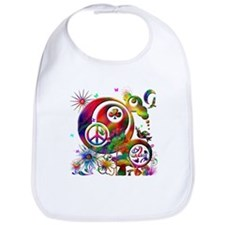 Lucky Peace Sign Collage Bib