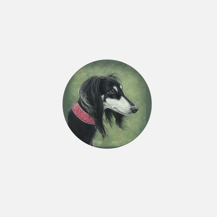 Saluki (Black and Silver) Mini Button