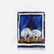 OLD ENGLISH SHEEPDOG WINDOW Greeting Cards (Packag