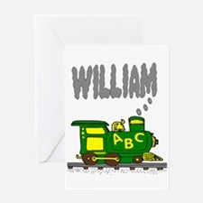 Adorable Train with William in Smoke Greeting Card