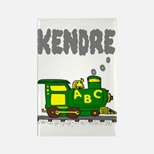 Kendre Green Yellow Train Rectangle Magnet
