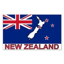 New Zealand Flag (labeled) Rectangle Bumper Stickers