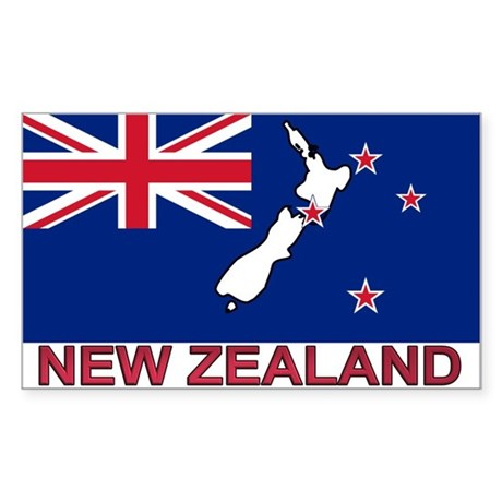 New Zealand Flag (labeled) Rectangle Sticker