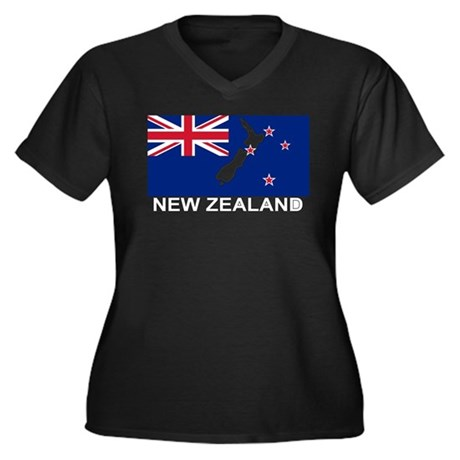 New Zealand Flag (labeled) Women's Plus Size V-Nec