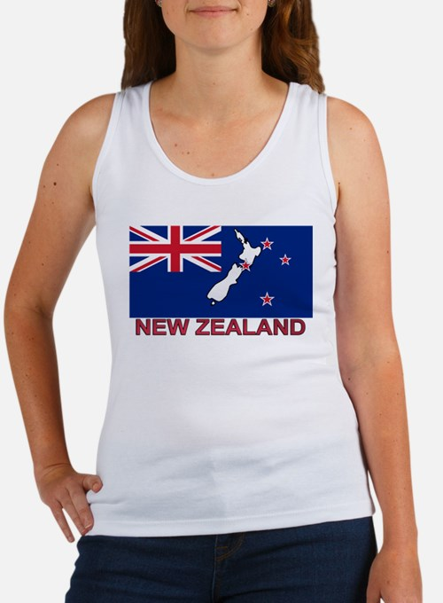 New Zealand Flag (labeled) Women's Tank Top