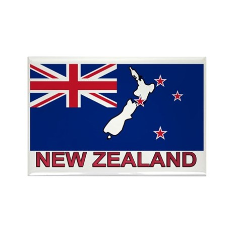 New Zealand Flag (labeled) Rectangle Magnet (10 pa