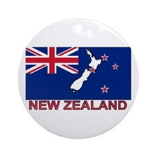 New Zealand Flag (labeled) Ornament (Round)