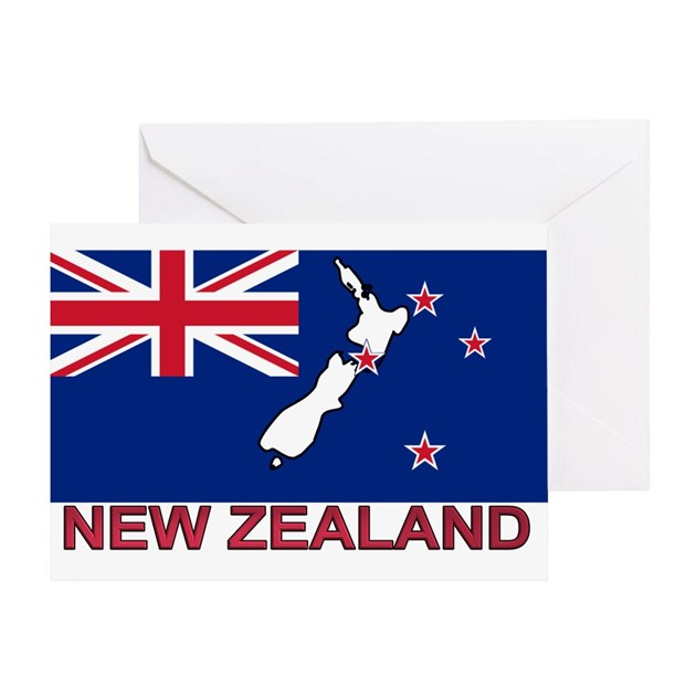 New Zealand Flag (labeled) Greeting Card By Intlcarstickers