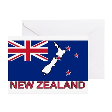 New Zealand Flag (labeled) Greeting Cards (Pk of 2