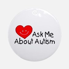 Ask Me About Autism Ornament (Round)
