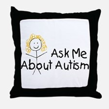 Ask Me About Autism Throw Pillow