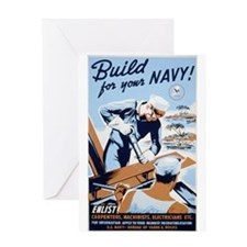 """WWII """"Build for the Navy"""" Greeting Card"""