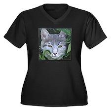 """Lace"" Women's Plus Size V-Neck Dark T-Shirt"