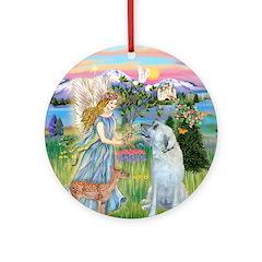 Garden Angel & Irish Wolfhound Ornament (Round)