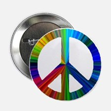 """Unique Rainbow peace 2.25"""" Button"""