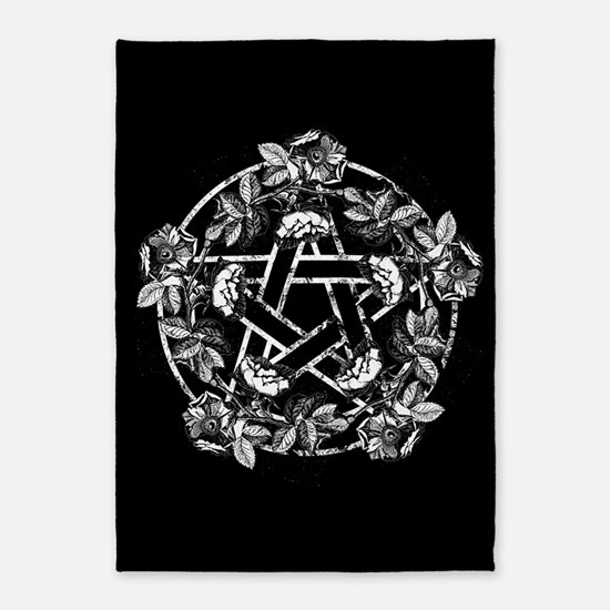 Pentacle With Roses 5'x7'Area Rug