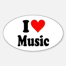 I Love Music: Oval Decal