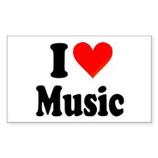 I Love Music: Rectangle Decal