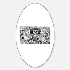 Calavera Oaxaquena Oval Decal
