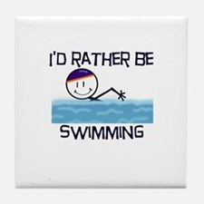 I'd Rather Be Swimming Tile Coaster