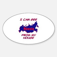 I Can See Russia From My House Oval Decal