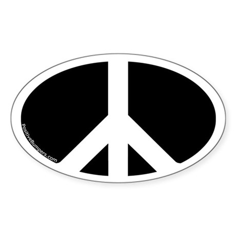 Peace Symbol Oval Decal (white on black)