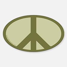 Peace Symbol Oval Decal (khaki)