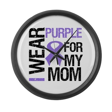 IWearPurple Mom Large Wall Clock