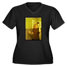 Just a Touchup Women's Plus Size V-Neck Dark T-Shi