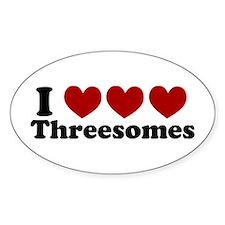 Heart Heart Heart 3somes Oval Sticker