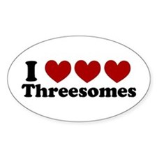 Heart Heart Heart 3somes Oval Decal