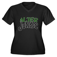 Alter Junkie Women's Plus Size V-Neck Dark T-Shirt