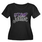 Stamp Junkie Women's Plus Size Scoop Neck Dark T-S