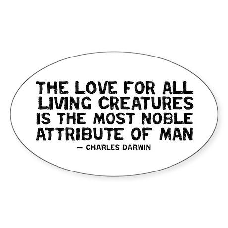 Quote Darwin - The Love Sticker (Oval)