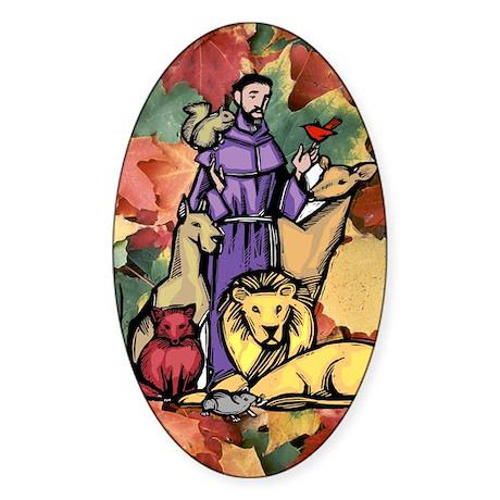 Saint Francis Leaves Oval Sticker