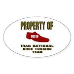 Iraqi Shoe Tossing Oval Sticker (10 pk)
