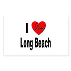 I Love Long Beach Rectangle Decal