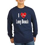 I Love Long Beach (Front) Long Sleeve Dark T-Shirt