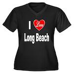I Love Long Beach (Front) Women's Plus Size V-Neck