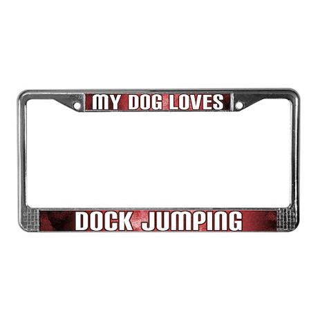 Dog Loves Dock Jumping License Plate Frame (Red)