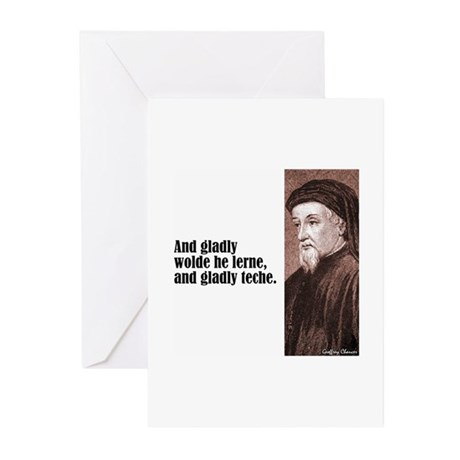"""Chaucer """"Gladly Lerne"""" Greeting Cards (Pk of 10)"""