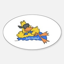 Ducky on a Raft Oval Decal